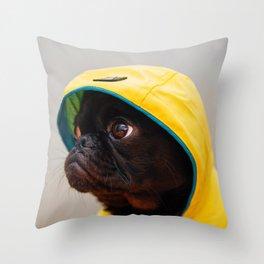 Cute Pug in Raincoat (Color) Throw Pillow