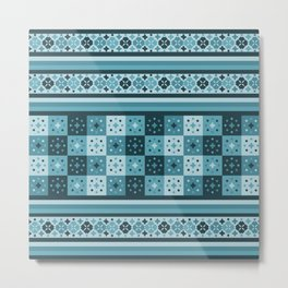 Bohemian Blue Tiles Pachwork Metal Print