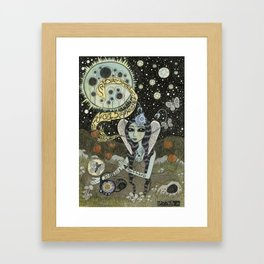 Moth Girl Singing to the Moon Framed Art Print