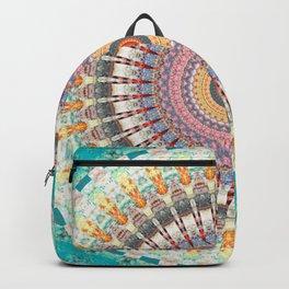 Teal Orange Yellow Boho Mandala Backpack