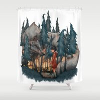 red riding hood Shower Curtains featuring Little Red Riding Hood by Anne Lambelet