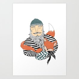 Man and fox. Art Print