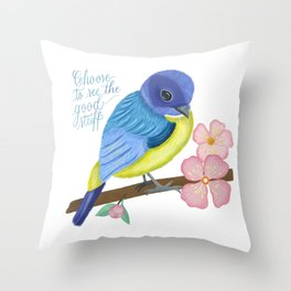 Spring, Bird and Calligraphy Throw Pillow
