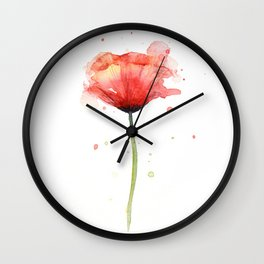 Red Poppy Watercolor Flower Floral Wall Clock