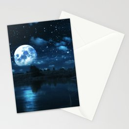 Rural forest near a river night landscape with full moon Stationery Cards