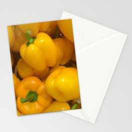 Yellow paprika vegetable pattern Stationery Cards