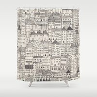 city Shower Curtains featuring city by rubyetc