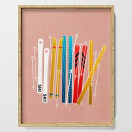 Colorful Ski Illustration and Pattern no 2 Serving Tray