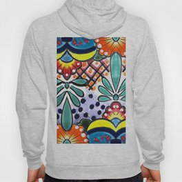 Colorful Talavera, Yellow Accent, Large, Mexican Tile Design Hoody