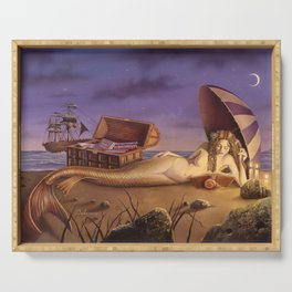 The Reading Mermaid by David Delamare (uncropped) Serving Tray