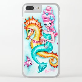 Pink Bouffant Mermaid Riding a Seahorse Clear iPhone Case