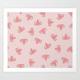 Crazy Happy Uterus in Pink, Large Art Print