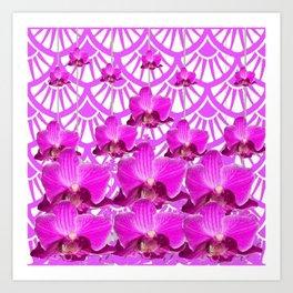 PURPLE ART DECO PATTERN ORCHIDS PATTERN ABSTRACT Art Print