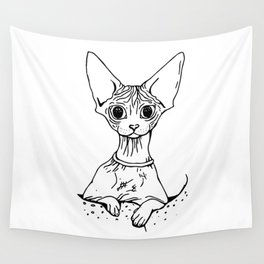 Big Eyed Pretty Wrinkly Kitty - Sphynx Cat Illustration - Nekkie - Cat Lover Gift Wall Tapestry