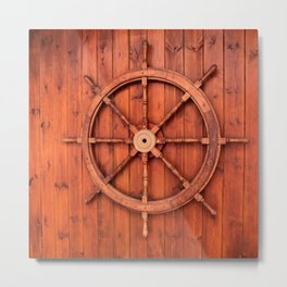 Nautical Ships Helm Wheel on Wooden Wall Metal Print