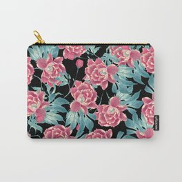 Pink Flowers on Black Carry-All Pouch