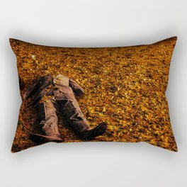 Man Lost in Autumn Leafes Rectangular Pillow