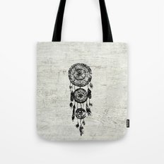 Hipster Lace black dreamcatcher on white wood Tote Bag