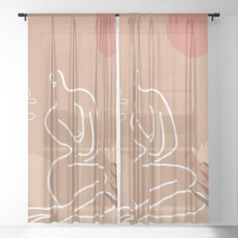 Woman in Nature Illustration Sheer Curtain