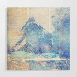 Blue Ice Mountains :: Fine Art Collage Wood Wall Art