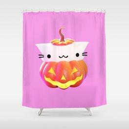 Pumpkin Cat Shower Curtain
