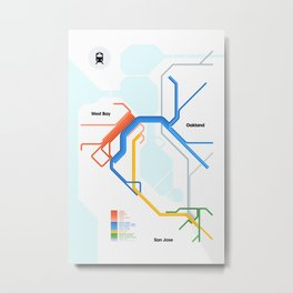 Bay Area Rail Map Metal Print