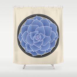 Blue Succulent Shower Curtain