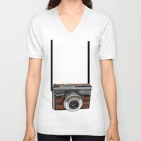 cameras V-neck T-shirts featuring Vintage cameras by Tish