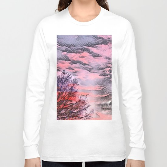 A German Sunset Sky with Tree (Landscape Nature) Long Sleeve T-shirt