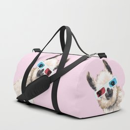 Sneaky Llama with 3D Glasses in Pink Duffle Bag