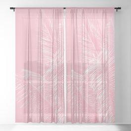 Millennial Pink illumination of Heart White Tropical Palm Hawaii Sheer Curtain