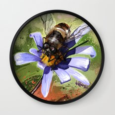 Bee on flower 18 Wall Clock