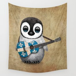 Baby Penguin Playing Quebec Flag Guitar Wall Tapestry
