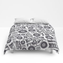 Pattern with the image of bigfoot car Comforters