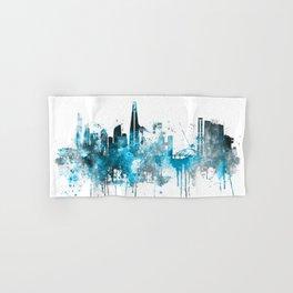 Seoul Monochrome Blue Skyline Hand & Bath Towel