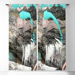 (Un)Tamed [2]: a vibrant, colorful abstract piece in pink, teal, black and white Blackout Curtain
