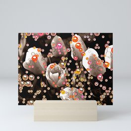 Bubbly Gold and Orange Tulips Mini Art Print