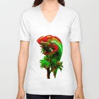rasta V-neck T-shirts featuring Rasta Chameleon by Gira Patel