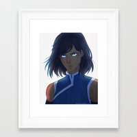 the legend of korra Framed Art Prints featuring Korra by Nymre