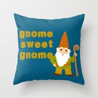 gnome Throw Pillows featuring gnome sweet gnome by Elephant Trunk Studio