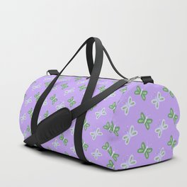 Modern artistic violet green butterfly illustration pattern Duffle Bag