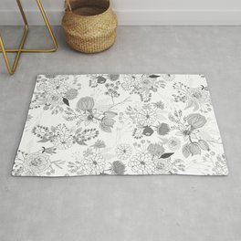 Modern elegant black white rustic floral illustration Rug