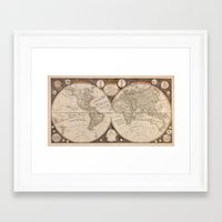 world map Framed Art Prints featuring World Map by Le petit Archiviste