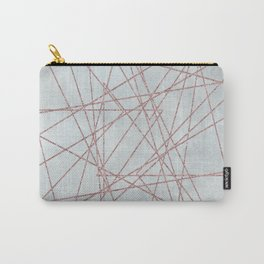 Rose Gold Glitter Line Art On Teal Carry-All Pouch