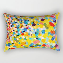 SWEPT AWAY 2 - Vibrant Colorful Rainbow Mango Yellow Waves Mermaid Splash Abstract Acrylic Painting Rectangular Pillow