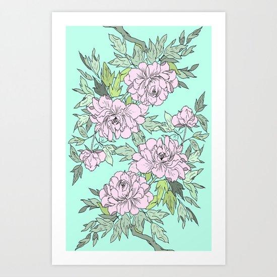Mint Flowers Art Print