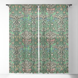 William Morris Jacobean Floral, Black Background Sheer Curtain