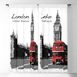 Big Ben London Red Double Decker Bus Blackout Curtain
