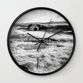 Little House in the Dutch Dunes | Coast | Callantsoog, The Netherlands | Black & White | Travel Photography | Photo Print | Art Print Wall Clock
