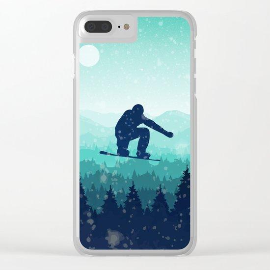 Snowboard Skyline II Clear iPhone Case